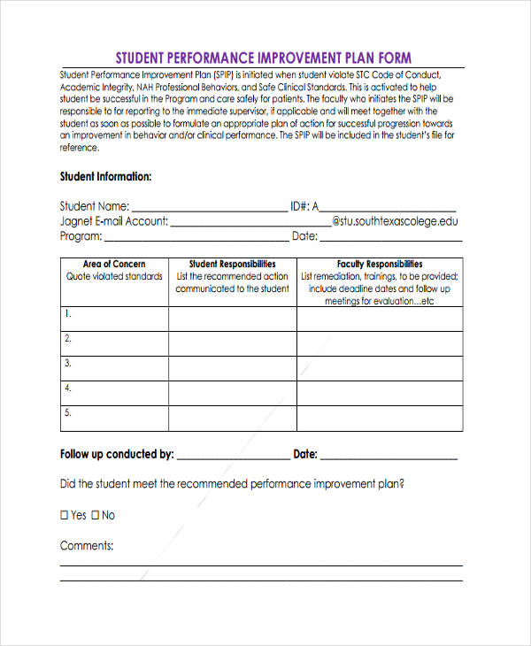 14 performance improvement plan examples samples for Student improvement plan template