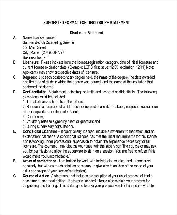 suggested disclosure example