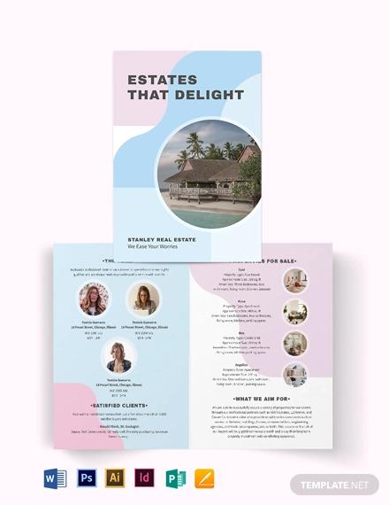summer vacation rental bi fold brochure template