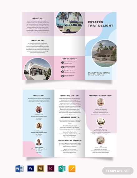 summer vacation rental tri fold brochure template