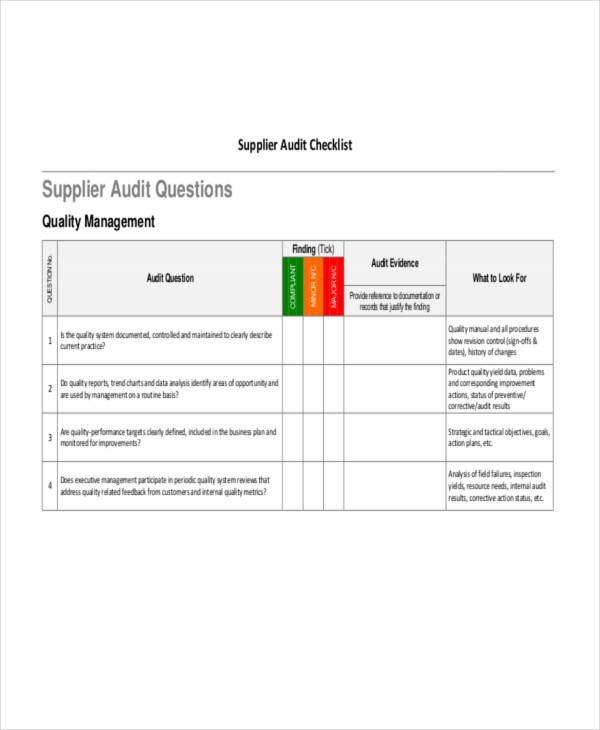 supplier audit template