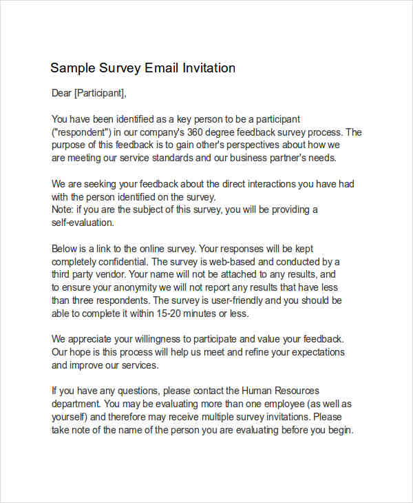 7 invitation email examples samples survey invitation sample stopboris Images