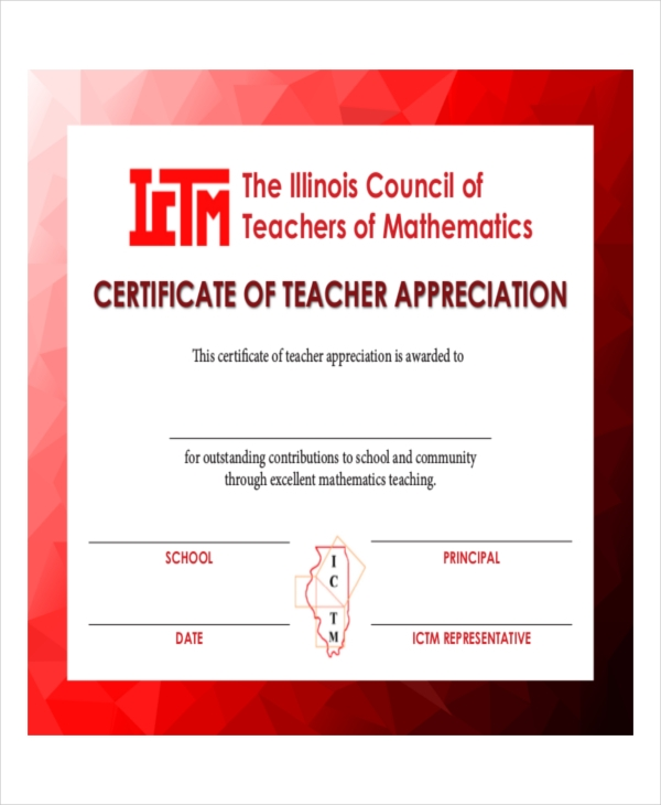 teacher appreciation certificate