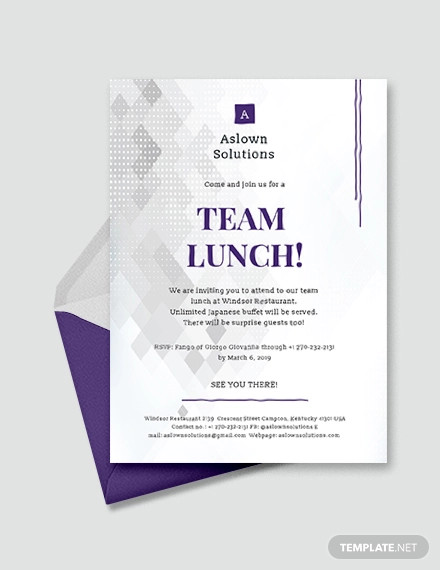 team lunch invitation example