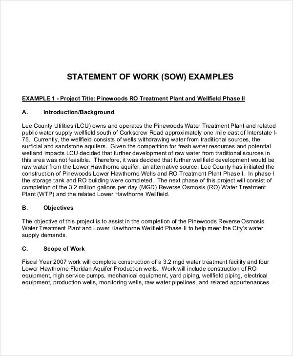 9 work statement examples samples for How to write a statement of work template