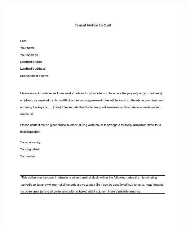 tenant notice to quit
