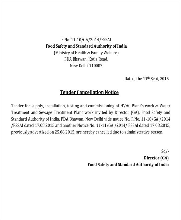 8 tender notice examples samples tender cancellation altavistaventures Choice Image