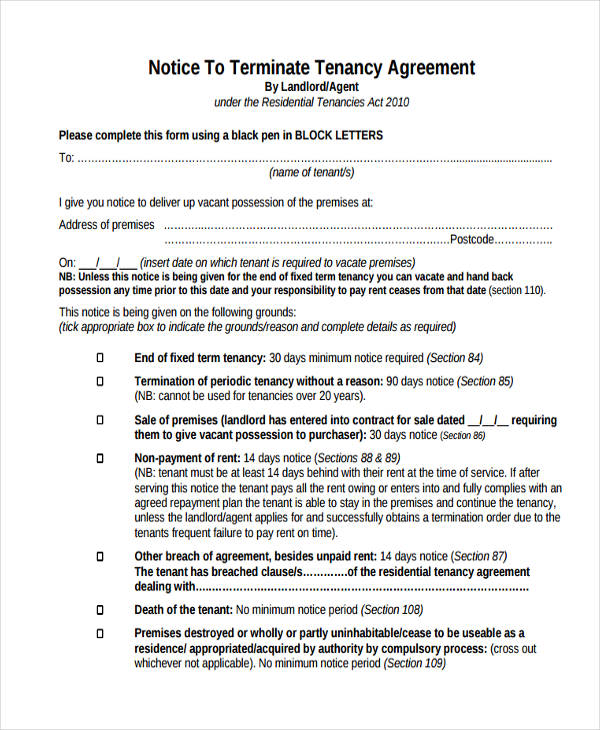 terminate tenancy agreement - Notice To Terminate Lease Agreement