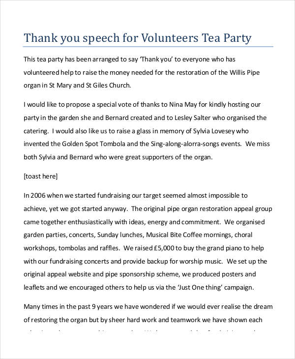 thank you speech for volunteers