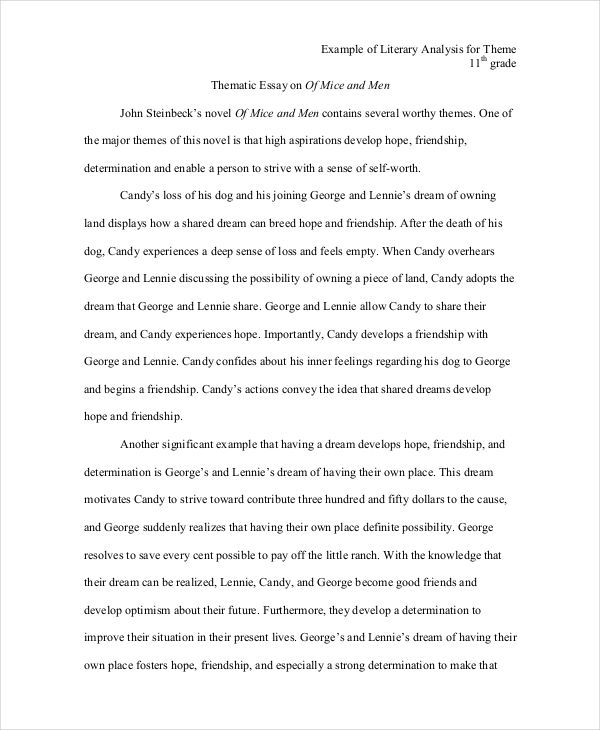 literary analysis sampels theme literary essay example