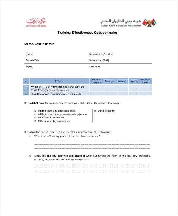 training effectiveness questionnaire