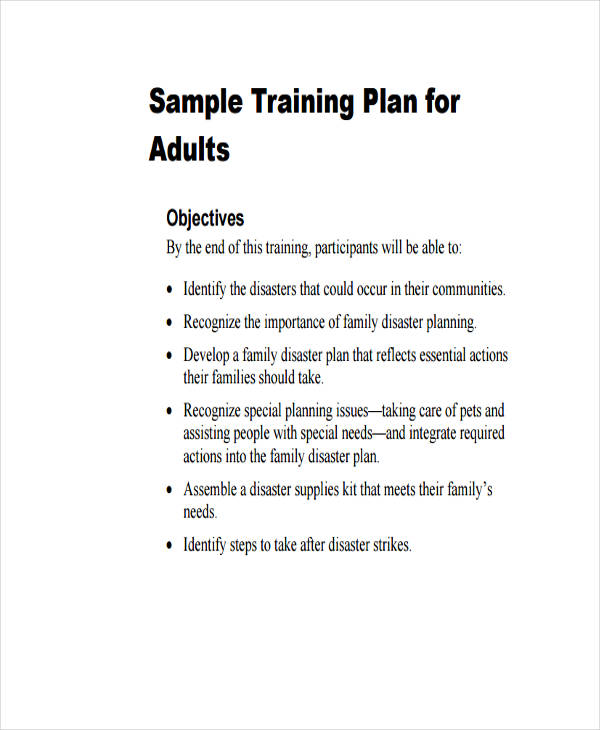 Training Plan Examples Samples