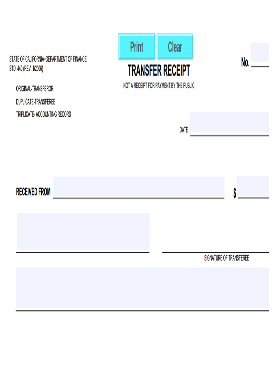 transfer receipt example