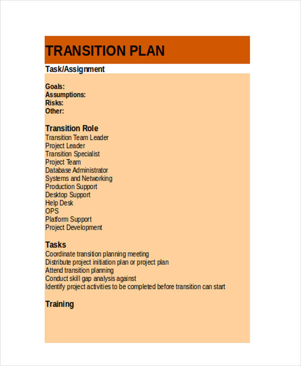 transition plan in excel