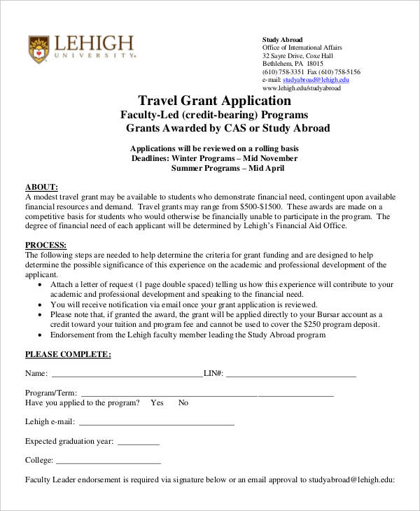 travel grant sample