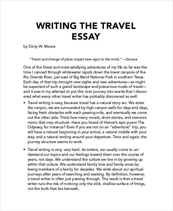 Essay on value of travelling