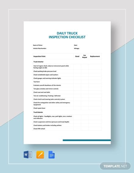 truck inspection checklist