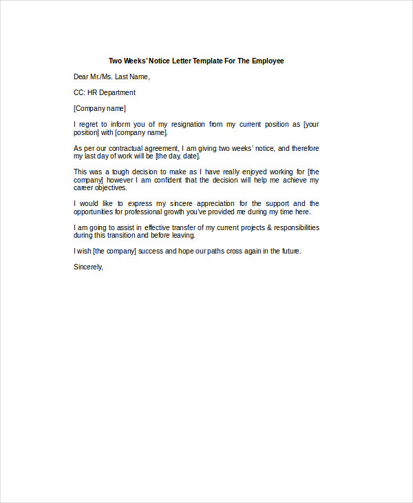 two weeks notice letter for employee