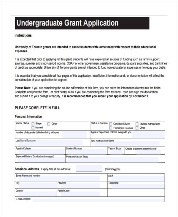 undergraduate grant