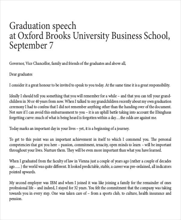 Graduation Speech Examples  Samples  Pdf