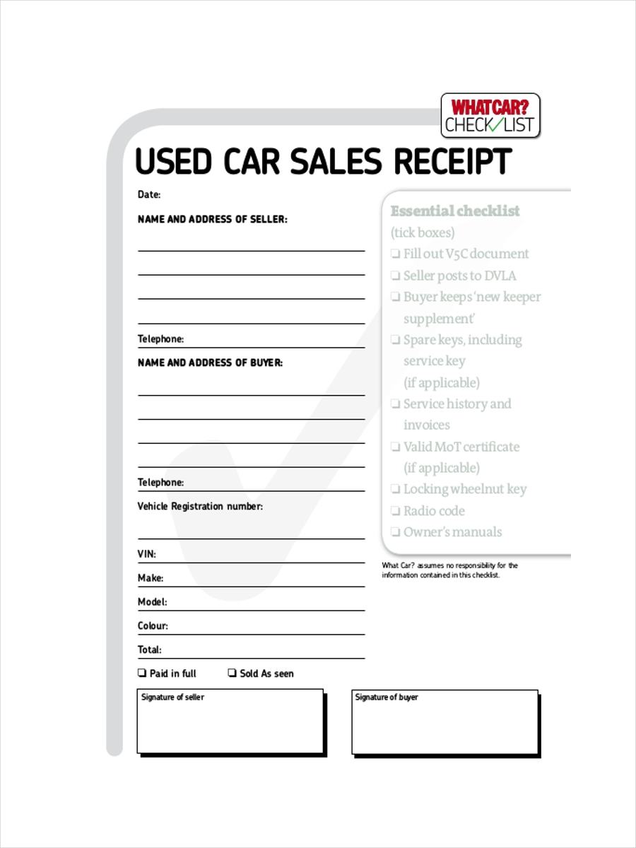 used car sale receipt - How To Make A Receipt
