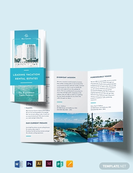 vacation rental management tri fold brochure template