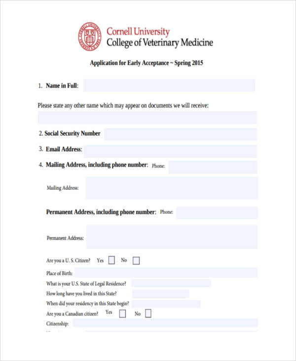 College Application Examples  Samples