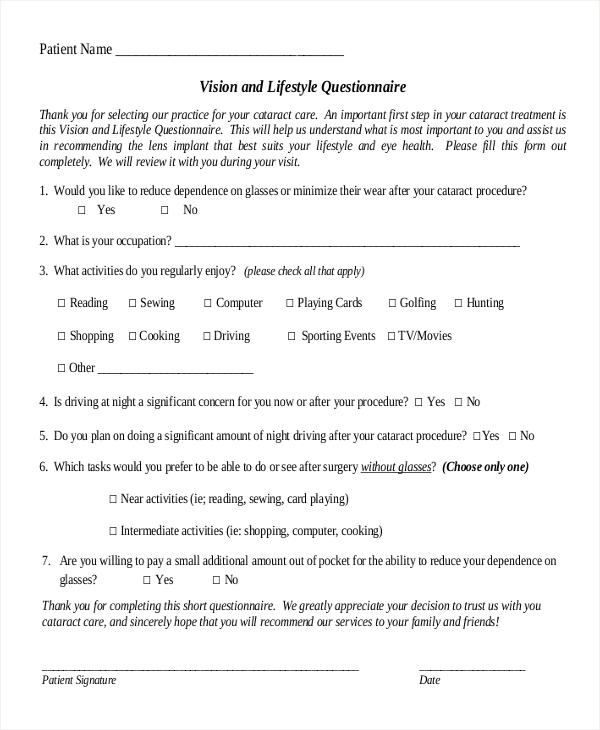 vision questionnaire