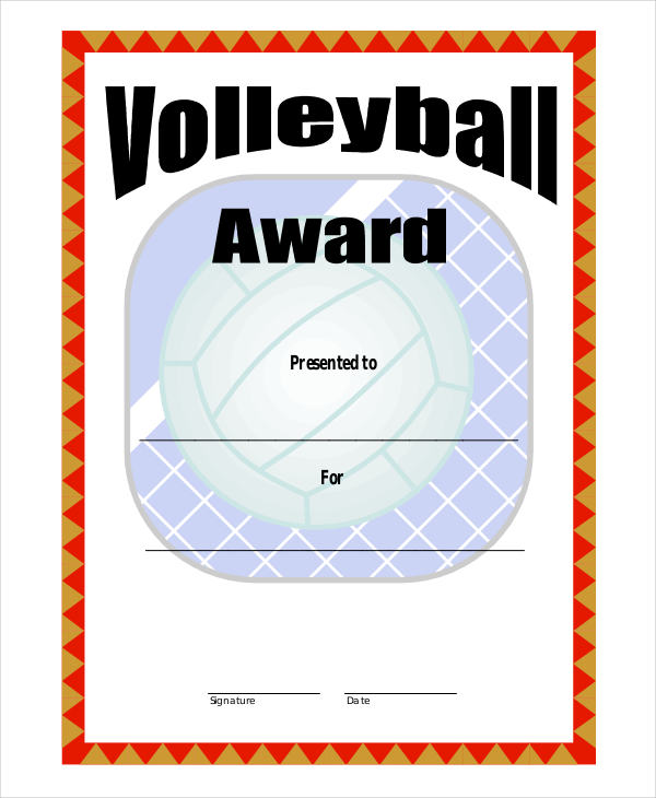 27 award certificate examples samples volleyball award sample yelopaper Image collections
