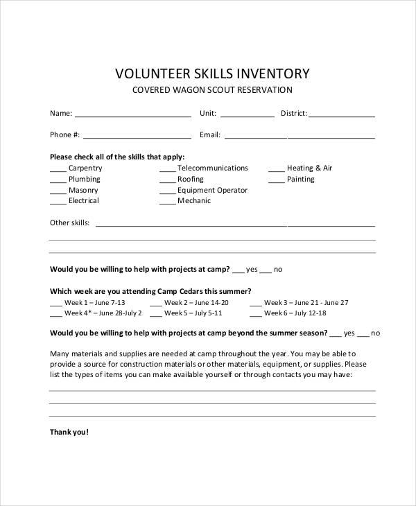 volunteer skills inventory