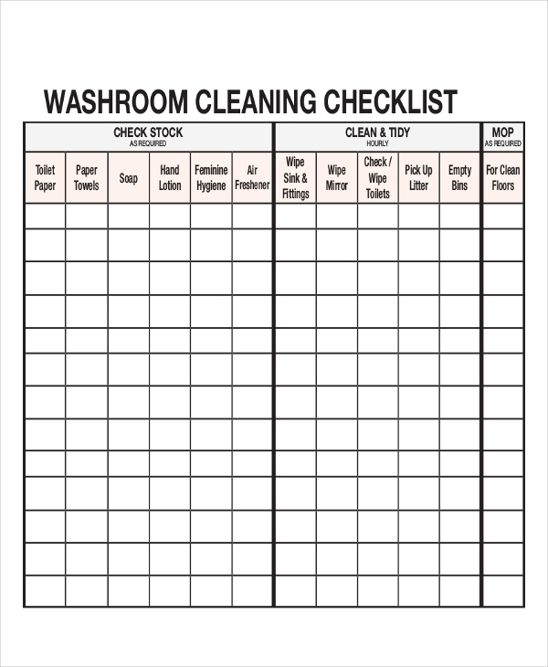 washroom cleaning example