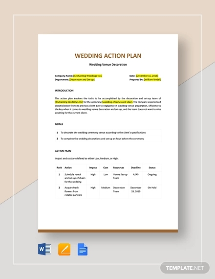 wedding action plan template