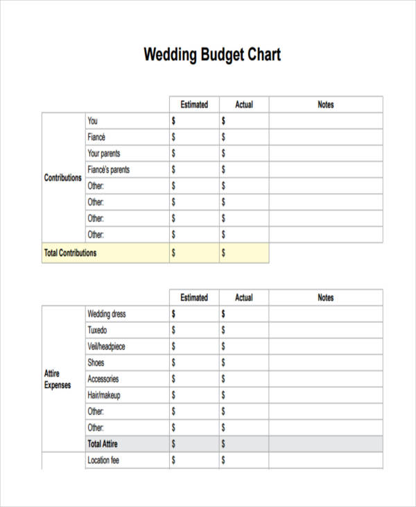 Wedding Chart Examples Samples