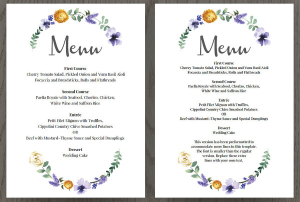 wedding buffet menu1