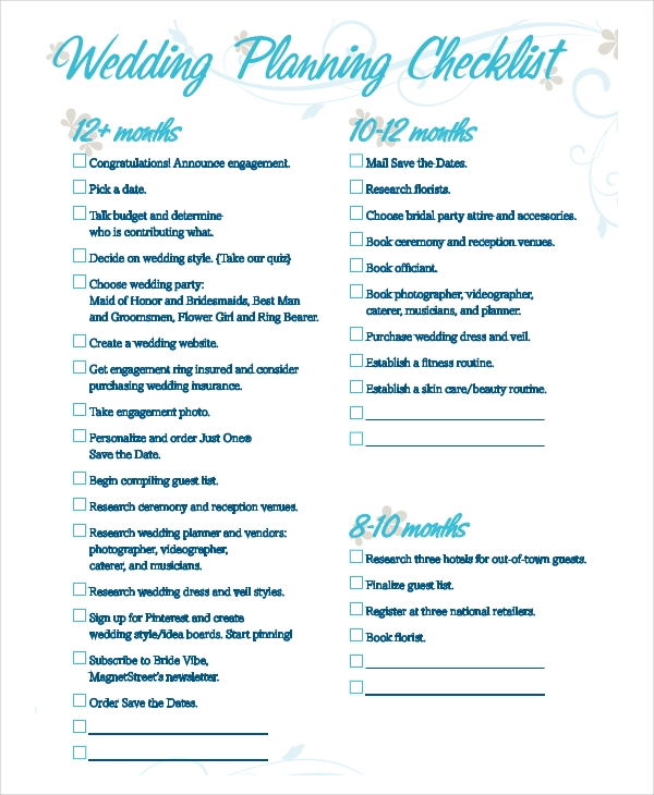 Examples Of Wedding Checklists