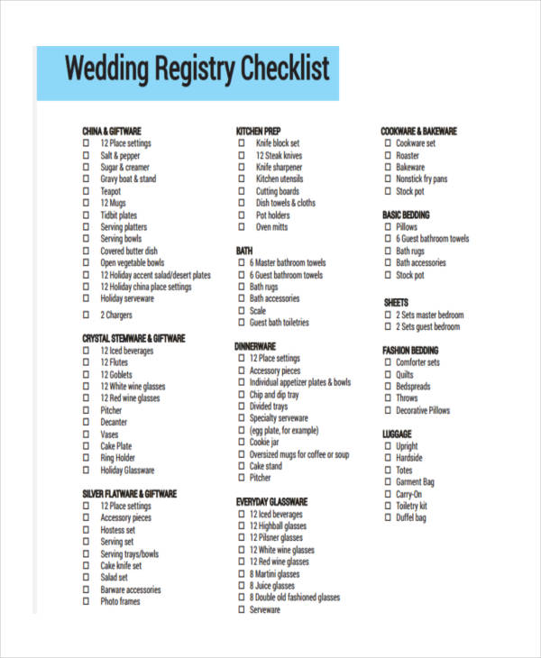 Wedding Registry Checklist Sample