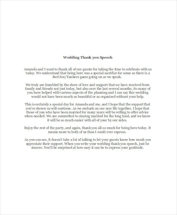 Examples Of ThankYou Speeches