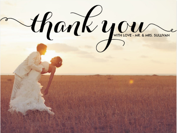 wedding thank you postcard