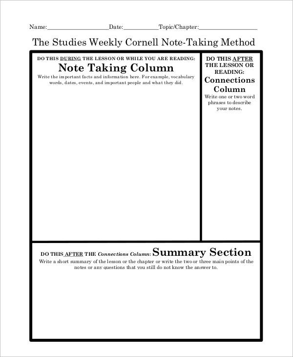 Cornell Note Examples  Samples