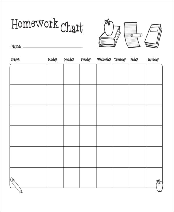 weekly home work chart