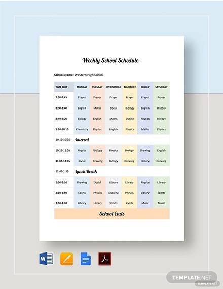 weekly school schedule template
