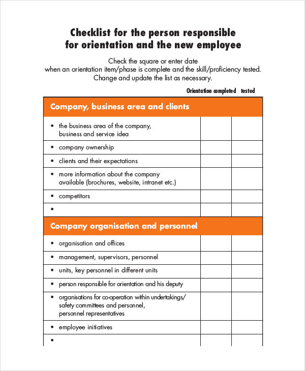 work orientation template