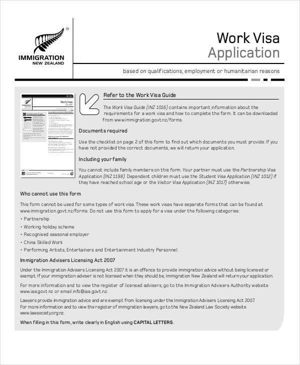 work visa application