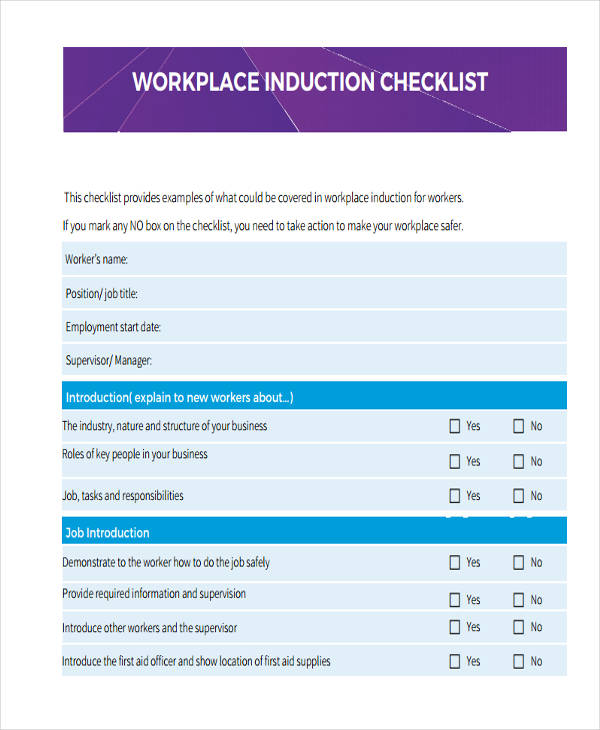 Induction Checklist Examples Samples