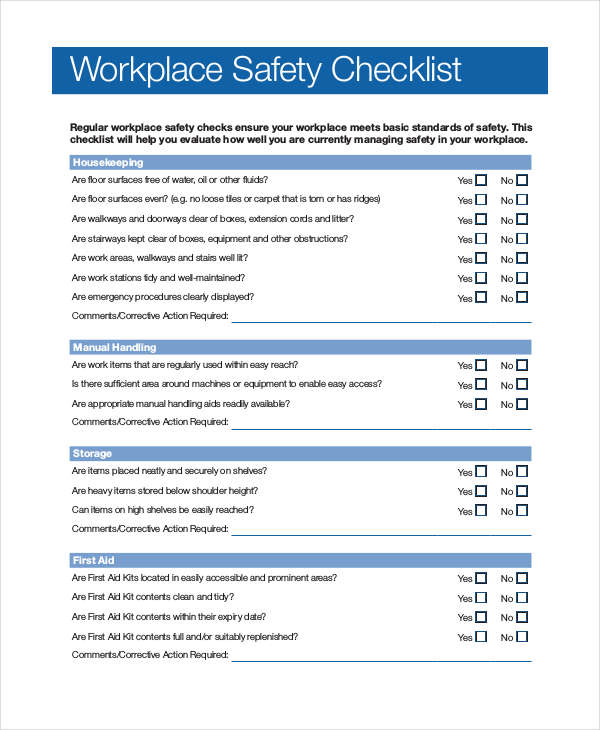 workplace safety checklist