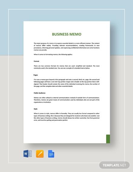 business memo