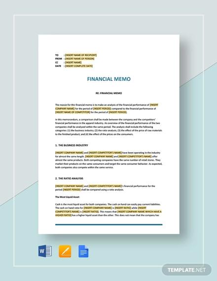 financial memo
