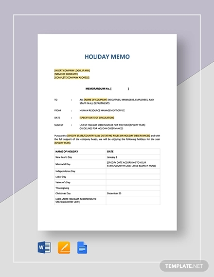 free 13  holiday memo examples  u0026 samples in pdf