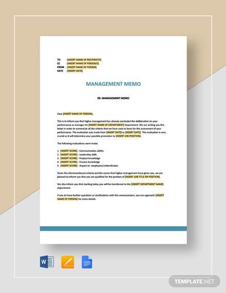 management memo