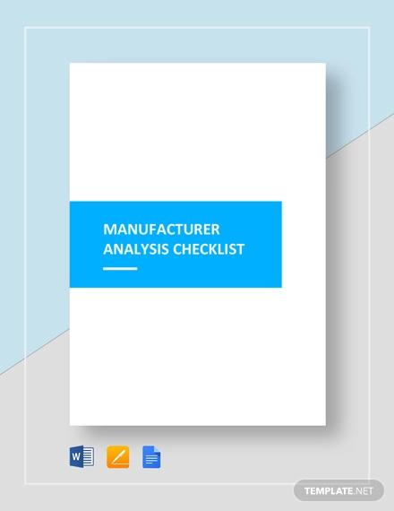 manufacture checklist analysis